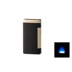 GERMANUS Jetflame Feuerzeug  Flat mit 1 Jet Flammen für Zigarren, schwarz gold