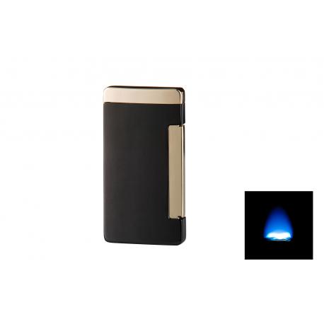 GERMANUS Jetflame Cigar Lighter Flat with 1 Torch Flames, Black Gold