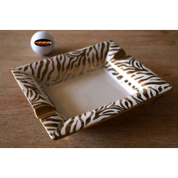 "ANGELO Porcelain Cigar Ashtray ""Zebra"" in Black or White Golden Design"