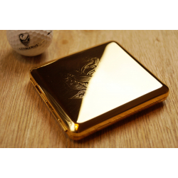 Cigarette Case with Genuine Gold - Made in Germany - Design Rose - Floral Engraving
