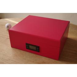 GERMANUS Titan Cigar Humidor with metal inlays and Digital Hygrometer for ca 50 cigars