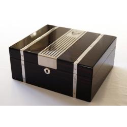 GERMANUS Cowling Cigar Humidor with metal inlays and Digital Hygrometer for ca 50 cigars