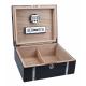 GERMANUS Cowlng Zigarren Humidor mit Digital Hygrometer und Metall Einlegearbeiten für ca. 50 Zigarren