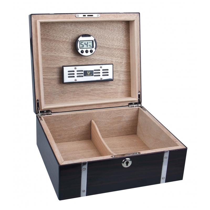 GERMANUS Cowling Cigar Humidor with metal inlays and Digital Hygrometer for ca 50 cigars - Tabak ...