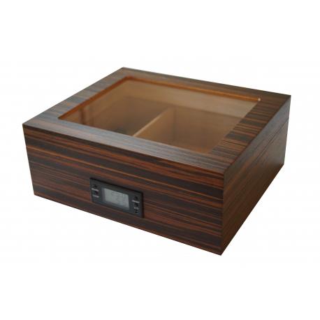 GERMANUS Ebenum Cigar Humidor with Digital Hygrometer for ca 50 cigars