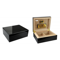 "GERMANUS ""Lunch Box"" Cigar Humidor with metal inlays and Digital Hygrometer for ca 50-100 cigars"