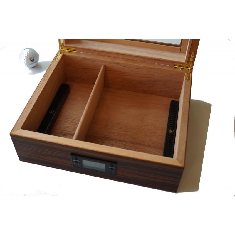 germanus ebenum zigarren humidor mit digital hygrometer in schwarz braun f r ca 50 zigarren. Black Bedroom Furniture Sets. Home Design Ideas