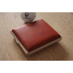 GERMANUS Cigarette Case Metal with Calf Leather Application - Made in Germany - Design Leather Ocher