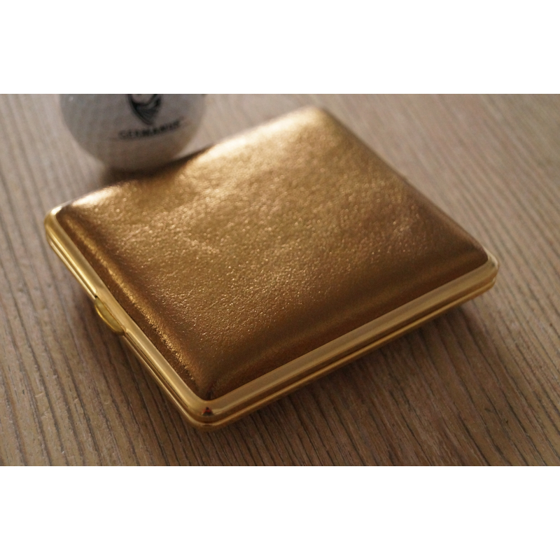 germanus cigarette case metal with calf leather application made in germany design gold