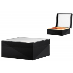 Humidor mit Glasdeckel mit Digitalem Hygrometer in schwarz, grün, orange