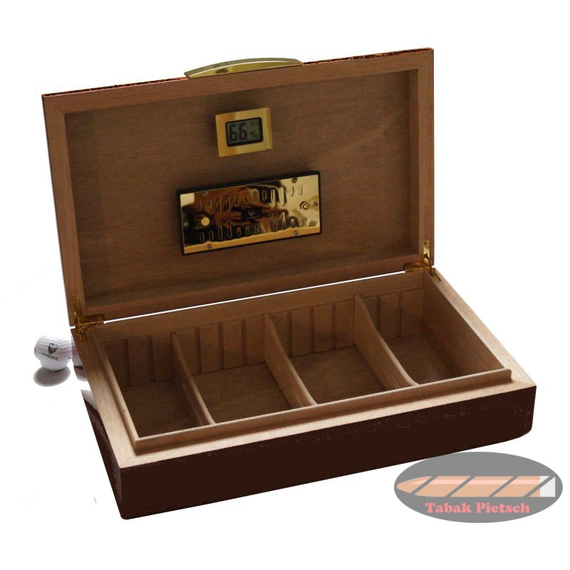 GERMANUS Licca Cigar Humidor with Digital Hygrometer and Metal Humidifier for ca 100 cigars ...