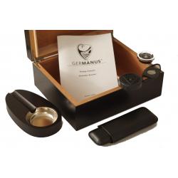 GERMANUS Zigarren Humidor Set mit in schwarz für ca. 50 Zigarren