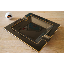 GERMANUS Porcelain Cigar Ashtray in Black Golden Design