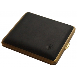 GERMANUS Cigarette Case Metal with Calf Leather Application - Made in Germany - Design Black Bull