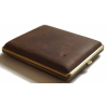 GERMANUS Cigarette Case Metal with Calf Leather Application - Made in Germany - Design Wild Bull, 100 mm