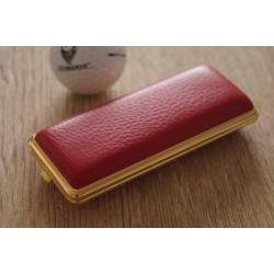 GERMANUS Zigarettenetui - Metall mit Leder Bezug - Made in Germany  - Design Hirsch Leder Rot Gold lang