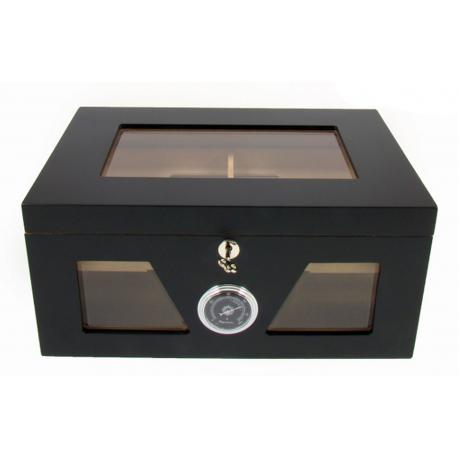 Humidor Truhe mit Sichtfenster Schwarz