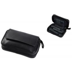 Pfeifentasche aus Leder für 3 Pfeifen in Schwarz Pfeifenbeutel 305