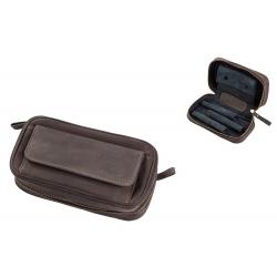Pfeifentasche aus Leder für 3 Pfeifen in Braun Pfeifenbeutel 306