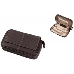 Pfeifentasche aus Leder für 3 Pfeifen in Braun Pfeifenbeutel 307
