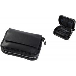 Pfeifentasche aus Leder für 4 Pfeifen in Schwarz Pfeifenbeutel 401