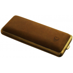 GERMANUS Cigarette Case Metal with Deer Leather Application - Made in Germany - Design Long Wild Bull