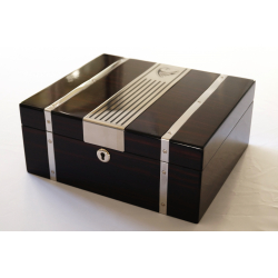 GERMANUS Cowling Cigar Humidor with metal inlays and Digital Hygrometer for ca 50 cigars