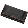 TObacco Pouch from Black Leather with Grey Stitching