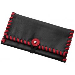 Tabaktasche in Leder, Schwarz mit Roten Nähten