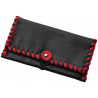 TObacco Pouch from Black Leather with Red Stitching