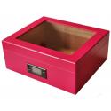 "GERMANUS ""Desk"" Pink Cigar Humidor with Digital Hygrometer for ca 50 cigars"