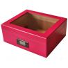 GERMANUS Rosa Zigarren Humidor mit Digital Hygrometer in Pink für ca. 50 Zigarren