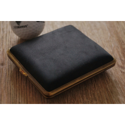 2nd Choice: GERMANUS Cigarette Case Metal with Calf Leather Application - Made in Germany - Design Black Bull