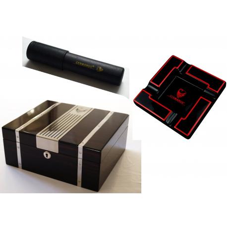 GERMANUS Humidor + Zigarren Ascher + Zigarrenetui