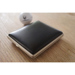 GERMANUS Cigarette Case Metal with Leather Application - Made in Germany - Design Leather 2
