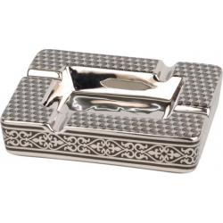 ANGELO Aschenbecher für Zigarren aus Porzellan - Leo, Silber