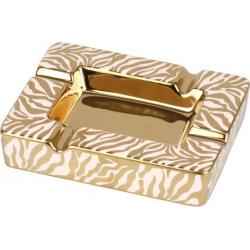 ANGELO Aschenbecher für Zigarren aus Porzellan - Zebra, Gold