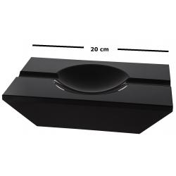 GERMANUS Solid Crystal Glass Cigar Ashtray , Black Transparent