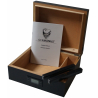 GERMANUS Black Cigar Humidor with Digital Hygrometer for ca 50 cigars