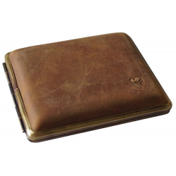 With Wear Marks: Cigarette Case Metal with Calf Leather Application - Made in Germany