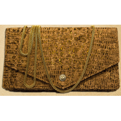 Kavatza Mary Jane Clutch Kork-Odile Tabak Handtasche