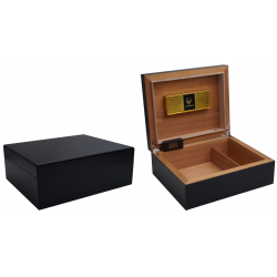 "Special Offer - GERMANUS ""Asculum"" Cigar Humidor with metal inlays and Digital Hygrometer for ca 100 cigars"