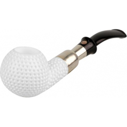 "Meerschaum Tobacco Pipe - Unique handmade Pipe - ""Golf Ball"" with Silver Ring"