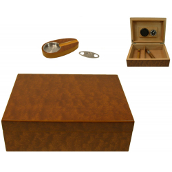 Cigar Humidor Set in Black with White Application with Hygrometer and Accessories for ca 50 cigars in Black