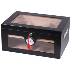 Humidor Chest with Windows on Side Black