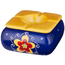 Ashtray with 120 mm diameter, wind proof with Flower Motif