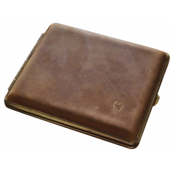 GERMANUS Cigarette Case Metal with Calf Leather Application - Made in Germany - Design Wild Bull