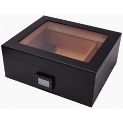 """GERMANUS """"Desk"""" Schwarz Zigarren Humidor mit Digital Hygrometer für ca. 50 Zigarren"""
