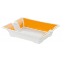 GERMANUS Cigar Ashtray from Porcelain Ceramic in White and Yellow