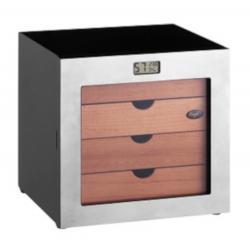Cigar Humidor Cabinet: Cube Metal, Black silver